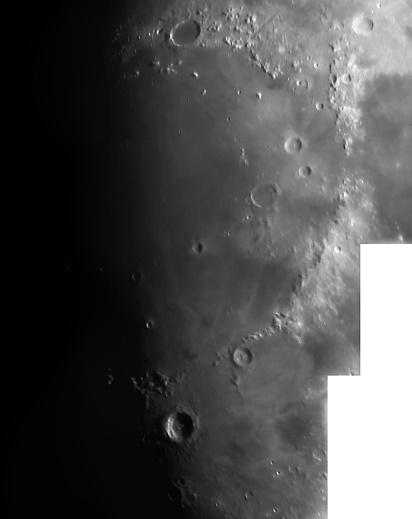 Our moon as seen through an 80mm Refracting telescope.